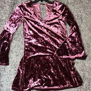 Maroon velvet dress